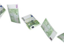 One hundred euro bill collage isolated on white Royalty Free Stock Images