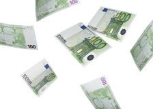 One hundred euro bill collage isolated on white Stock Photos