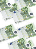 One hundred euro bill collage isolated on white. Vertical format Stock Image