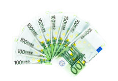 One hundred euro bills isolated on white background Stock Photo