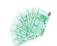 One hundred euro bills isolated on white background. banknotes Stock Photos