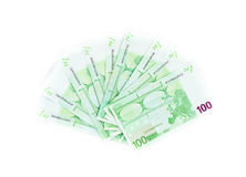 One hundred euro bills isolated on white background. banknotes Stock Photography