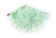 One hundred euro bills isolated on white background. banknotes c Stock Photos