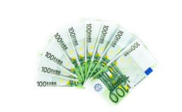 One hundred euro bills  on white background. banknotes c Stock Photo