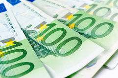 One hundred euro. Close up to one hundred euro bills Royalty Free Stock Photos