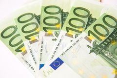 One hundred euro. Currency banknotes, close up macro Stock Photography