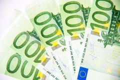 One hundred euro currency banknotes Stock Photo