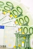 One hundred euro. Currency banknotes, close up macro Royalty Free Stock Photos