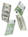 One hundred euro and dollar bill collage isolated on white Stock Photo