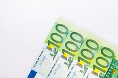 American one hundred dollar bills. Euro banknotes. One hundred euro and new one hundred dollar bills. Background of the money Royalty Free Stock Photos