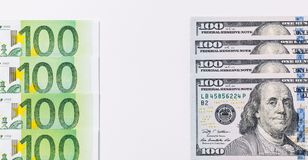 American one hundred dollar bills. Euro banknotes. One hundred euro and new one hundred dollar bills. Background of the money Royalty Free Stock Image