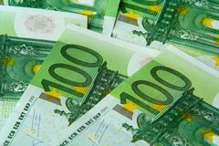 One hundred euro nominal banknotes. Fantail of one hundred euro nominal banknotes background Stock Photography
