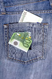 One hundred euro note in the back pocket of jeans full of holes. Stock Image