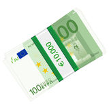 One hundred euro pack. One hundreds euro banknotes pack on a white background vector illustration