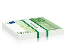 One hundred euro stack. Hundreds euro banknotes stack on a white background stock illustration
