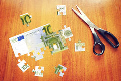 One hundred Euros as a set of puzzles Stock Photos