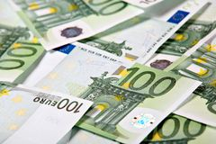 One hundred euros background Stock Images