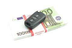 One hundred euros banknotes and car keys Royalty Free Stock Photography