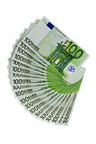 One hundred Euros banknotes on white Royalty Free Stock Image