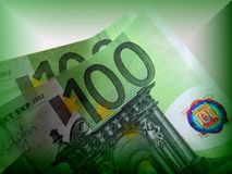 One hundred euros is good, but two hundred is better. A denomination of one hundred euros prevails over the design of the others. The whole secret in green color Stock Photo