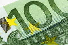 One hundred euros, green color Royalty Free Stock Photo