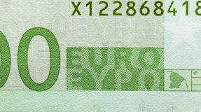 One hundred euros, green color Royalty Free Stock Photos