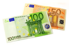 One Hundred And Fifty Euro. Banknotes Isolated on white background. European currency money Royalty Free Stock Photos