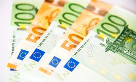 Euro banknotes. One hundred and fifty euro currency banknotes, close up macro Stock Photography
