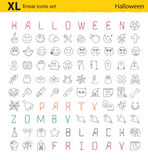 One hundred Halloween thematic vector linear icons set Stock Photo