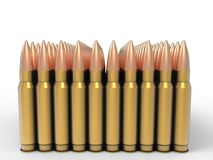 One hundred high calibre bullets. Isolated on white background royalty free illustration