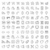 One hundred icons set. Vector clean icons set for internet store applications and web interface. Made in flat graphic style. Nice details and easily identifiable Royalty Free Stock Photos