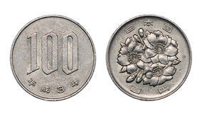 One hundred japanese yen coin front and back faces Royalty Free Stock Images