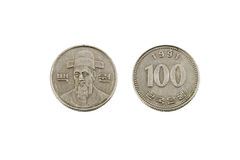 One Hundred Korean Won Coin Stock Images