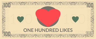 One hundred likes fake currency. royalty free stock images