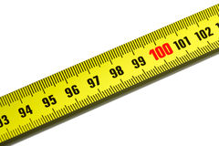 One hundred on measuring tape Stock Photography