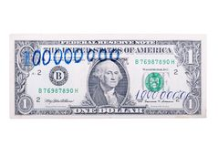 One hundred million dollars a banknote, isolated on a white back Stock Photos
