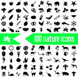 One hundred nature theme icons set Stock Photography