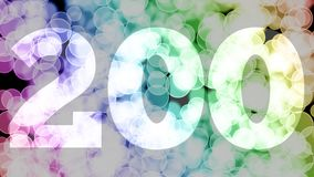 One hundred ninety nine to two hundreds points, level, rank fade in/out animation with color gradient moving bokeh background.
