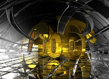 One hundred. Number one hundred in abstract futuristic space - 3d illustration Stock Image