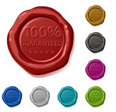 One hundred per cent guaranteed. 100% guaranteed  sealing wax Stock Image