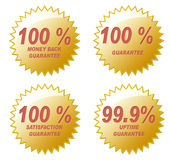 One hundred Percent. Four various 100% Guarantee golden seals. Created in PS Royalty Free Stock Image