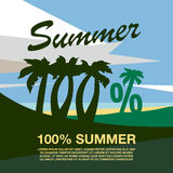One hundred percent banner text. Summer beach with palm trees. Summer flat geometric landscape Vector Illustration