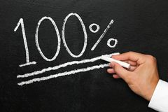 One hundred percent achievement of a goal on chalk blackboard Royalty Free Stock Image