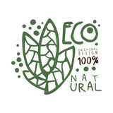 One hundred percent eco natural label original design, logo graphic template. Healthy lifestyle, handmade products. Organic food menu hand drawn vector Stock Photography