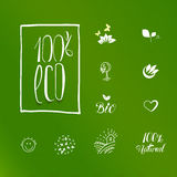 One hundred percent eco product logo set Stock Photography