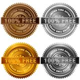 One Hundred Percent Free Limited Time Offer Bronze Silver Gold P. An image of a One Hundred Percent Free Limited Time Offer Bronze Silver Gold Platinum Stamp Set Stock Photos