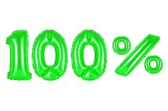 100 one hundred percent, green color. 100 one hundred percent, green number and letter balloon Royalty Free Stock Image