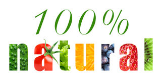 One hundred percent natural food Stock Images