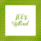 One hundred percent Natural logo at seamless floral pattern Royalty Free Stock Images