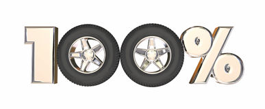 100 One Hundred Percent Number Car Wheels. 3d Illustration Stock Photo